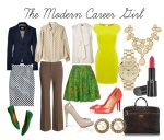 Yellow dress $72 - houseoffraser.co.uk, Polkadot top Michael Kors $268 - my-wardrobe.com, Navy Blazer- Dolce & Gabbana $640 - stylebop.com, Brown Dress Pants $70 - sierratradingpost.com, Green Versace Vintage Skirt $250 - farfetch.com, Salmon Christian Louboutin heels $625 - net-a-porter.com, Polkadot skirt $118 - jcrew.com, green flats $88 - madewell.com, Burak Uyan Nude peep toe pumps $920 - stylebop.com, Brahmin Laptop Case $295 - brahmin.com, Michael Kors watch $320 - harveynichols.com, Miso Nude Bib Necklace $19 - republic.co.uk, lipstick Armani Beauty Rouge $30 - barneys.com